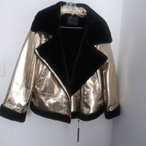 Blank NYC gold faux fur sherling moto jacket